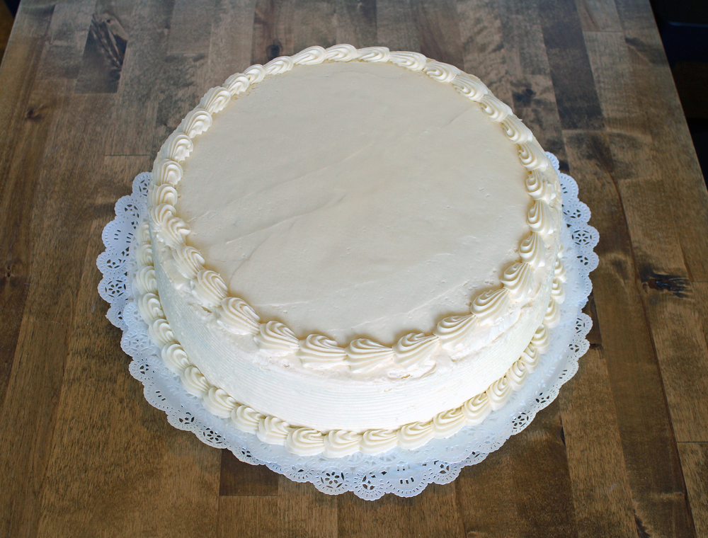 12 in round cake - $37.99    serves 24-26 people