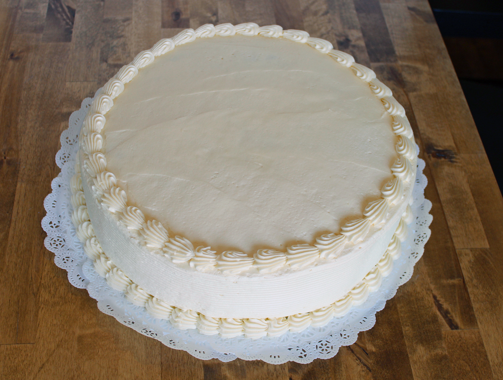 14 in round cake - $44.99    serves 30-40 people