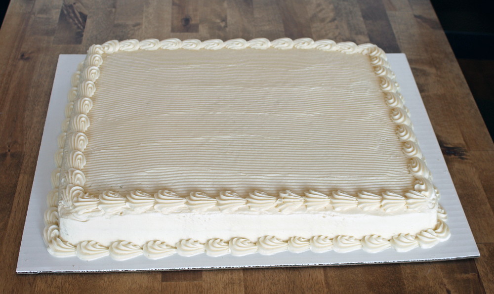 1/2 sheet cake - $35.99    serves 30 - 40 people