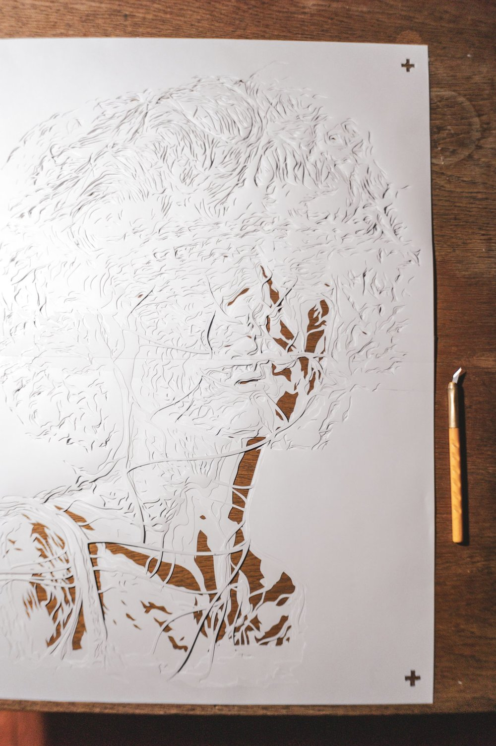 5 layer handcut stencil -