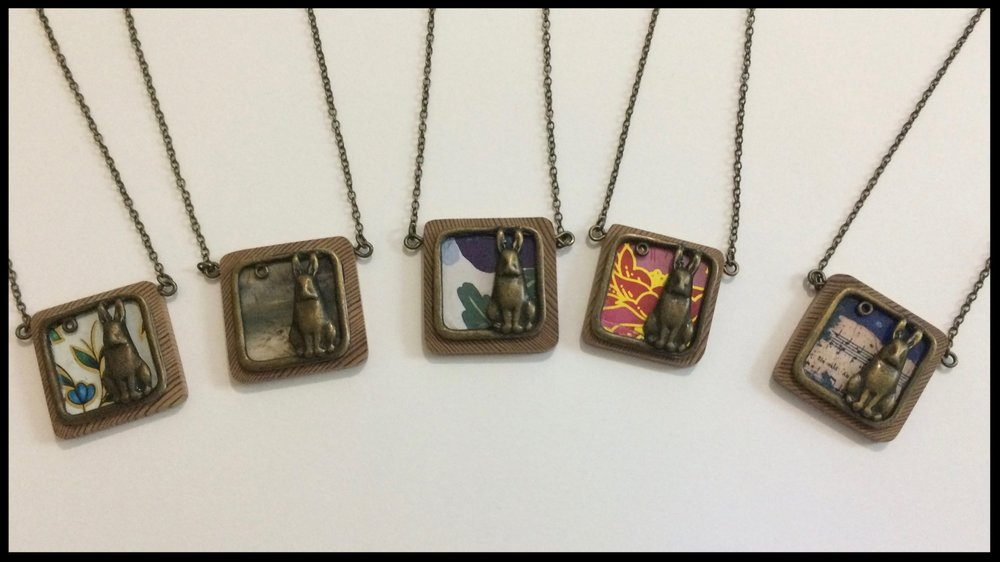 Rabbit - tin, metal and wood necklaces