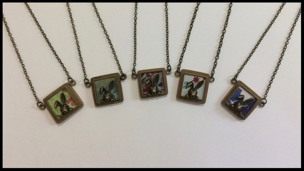 Little Rabbit - Tin, metal and wood necklaces