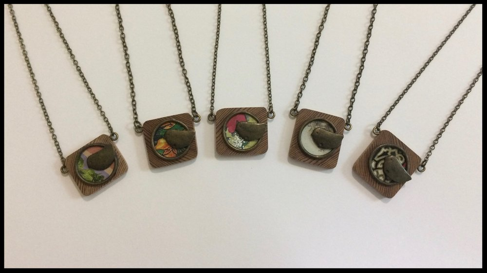 Bird - Tin, metal and wood necklaces