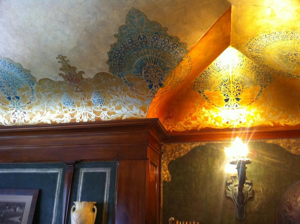 Detain of the leather walls of Clevehom Manor.  They were etched in 14 karat gold leaf that was applied by hand.  It is amazing how great the work looks over 100 years later.