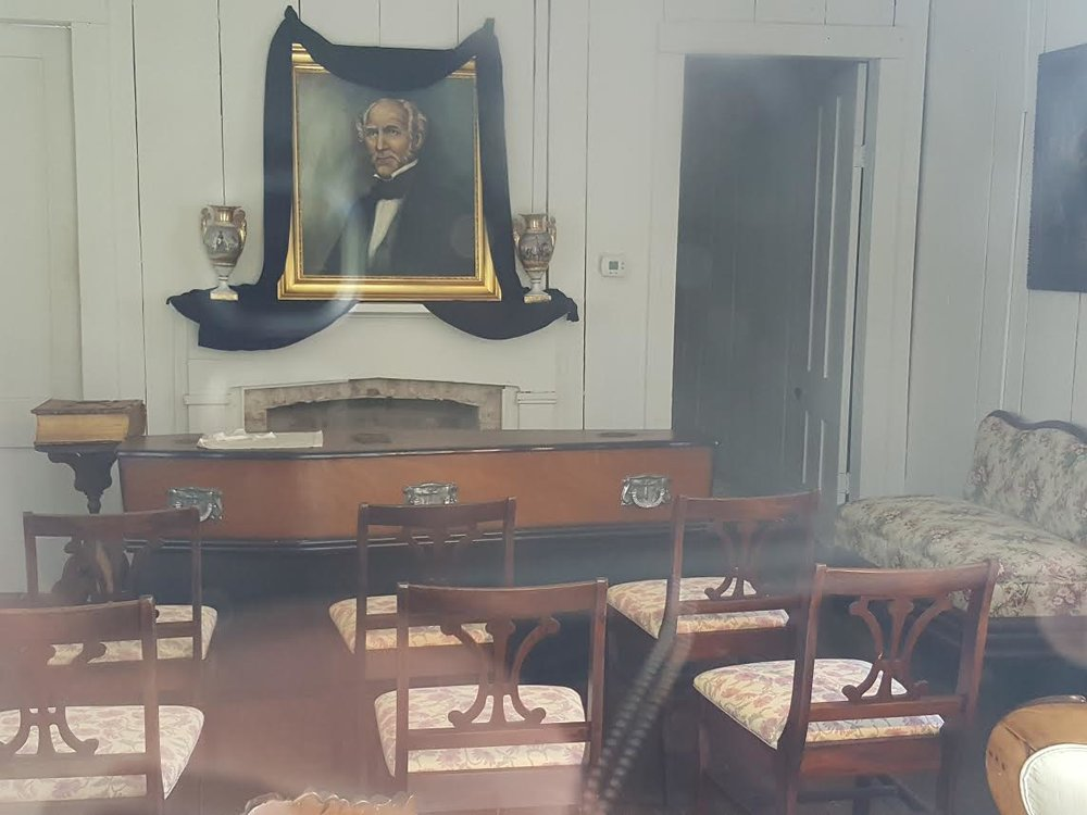 The Sam Houston Memorial Museum's recreation of the funeral setting of Sam Houston.  The setting was based on period accounts and specific facts regarding Houston, such as his Masonic Apron which is at the head of the coffin.