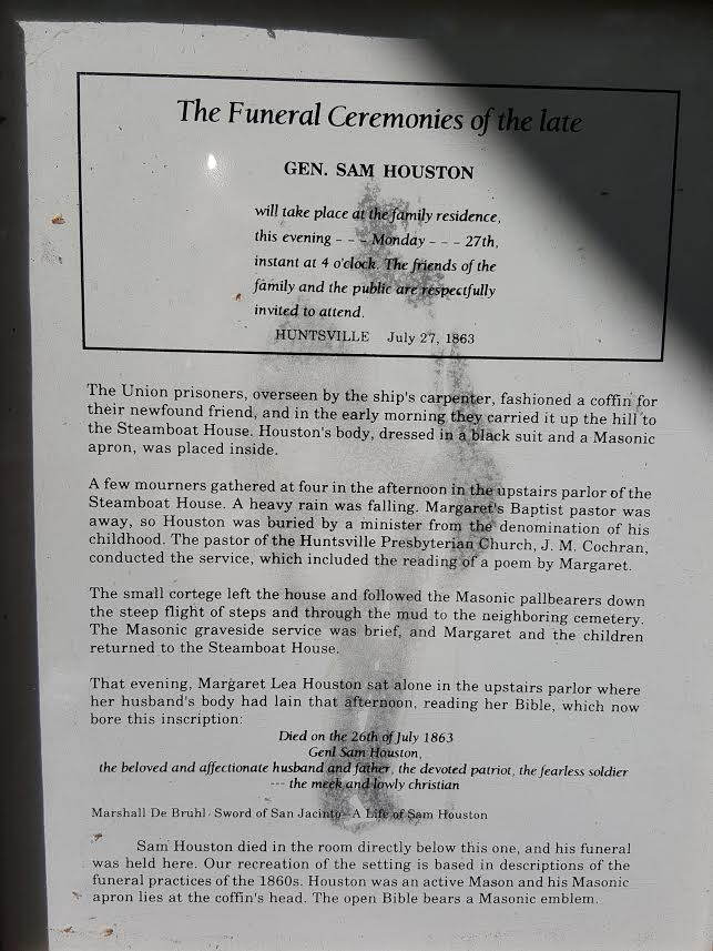 The Sam Houston Memorial Museum's explanation of General Sam Houston's funeral.