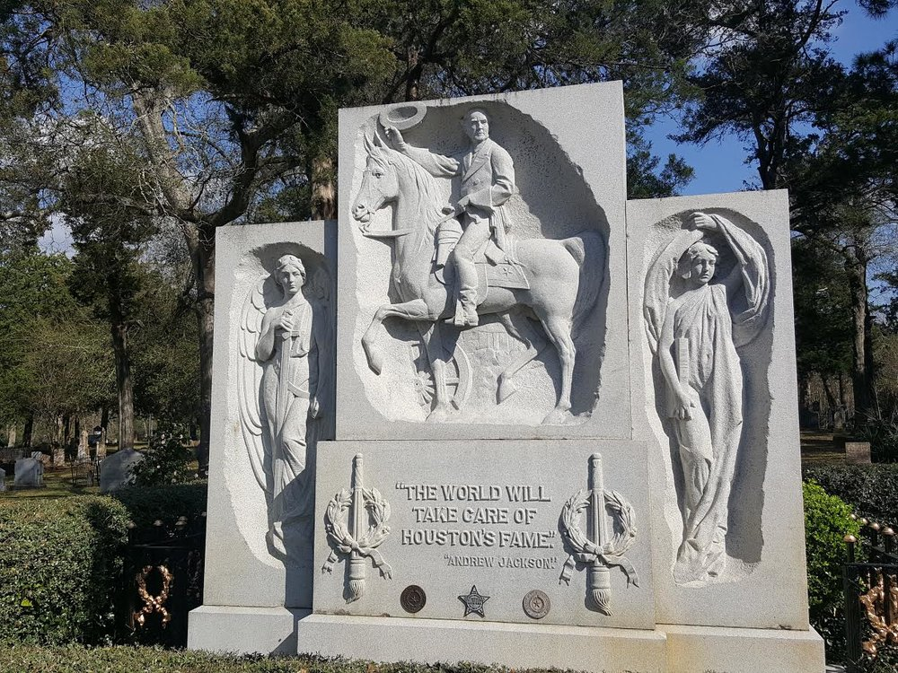 Final resting place of General Sam Houston at Oakwood Cemetery.