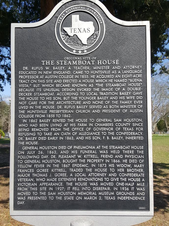 The Historical Marker for the original location of The Steamboat House can be found just inside Oakwood's annex.