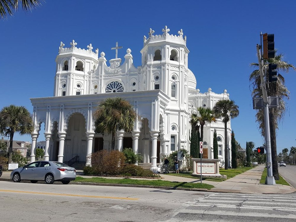 Galveston's Sacred Heart Church is a stunning architectural piece that survived The Great Storm of 1900, though it did take extensive damage.
