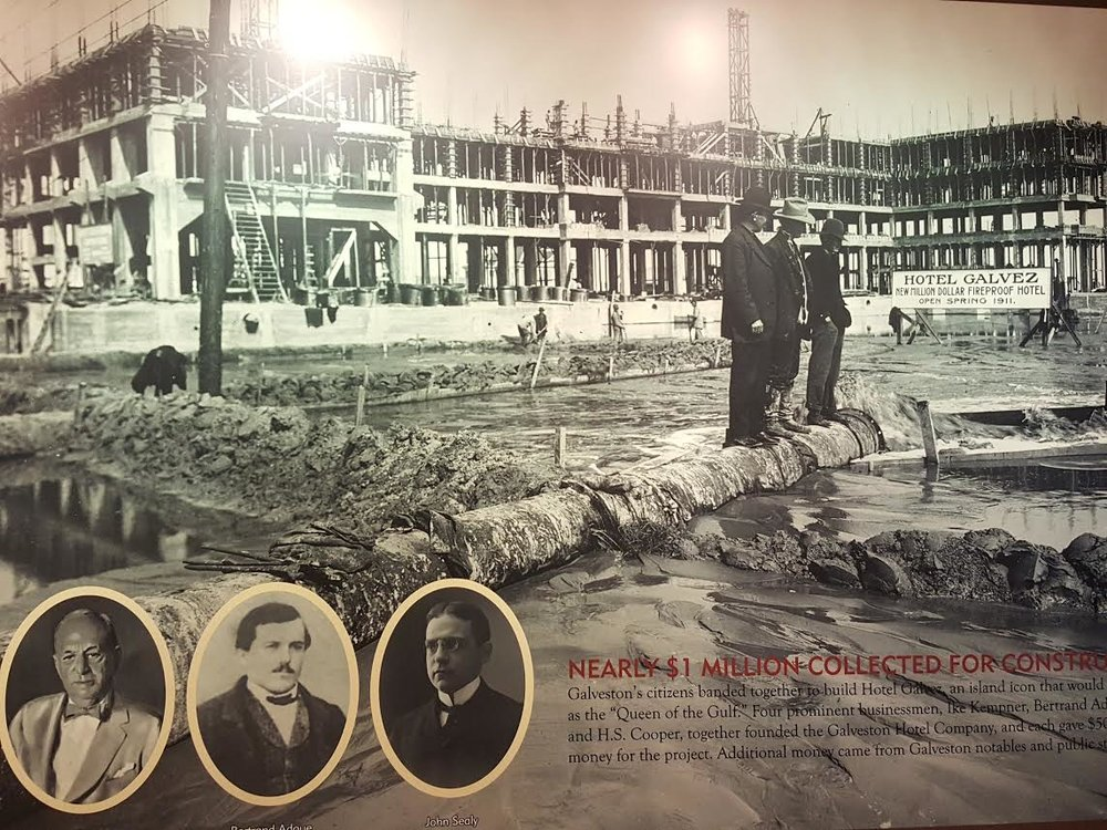Historical photo, located in the basement of the hotel, documenting the construction of the Hotel Galvez.
