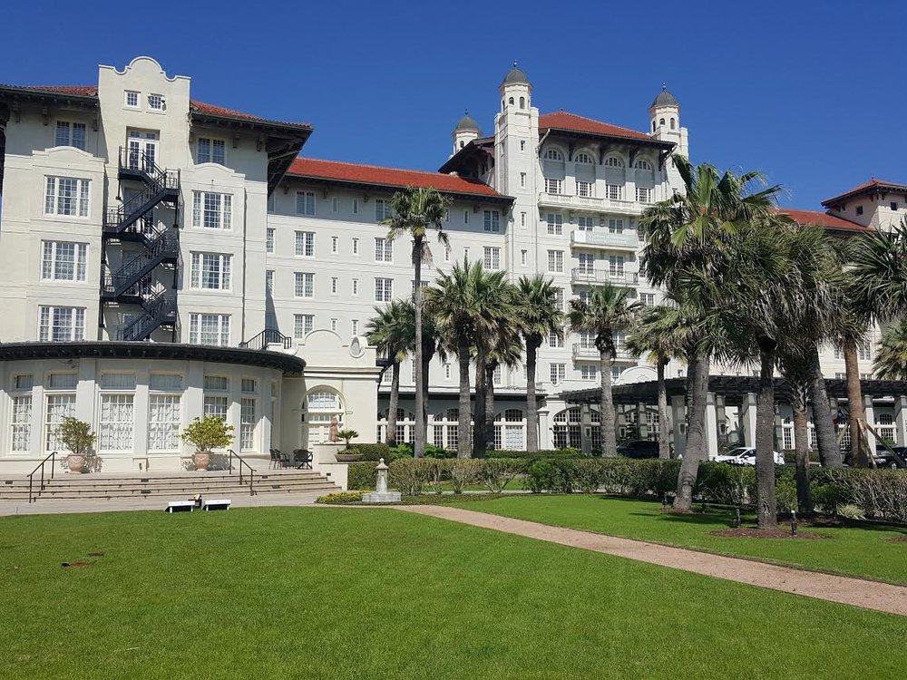 The stunning Hotel Galvez's exterior.