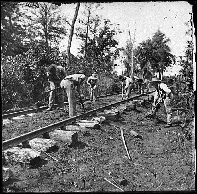 Contraband were often used by Union Officers, to perform manual labor like building railroads or trenches. They received no pay or reward for their work, though some were, eventually, mustered into the Union Army and paid a reduced wage.