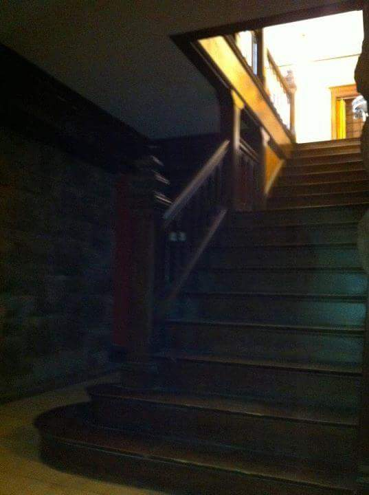 A POSSIBLE SHADOW FIGURE ON THE BASEMENT STAIRS OF CLEVEHOM, OUTSIDE THE GAMEROOM IN 2014.