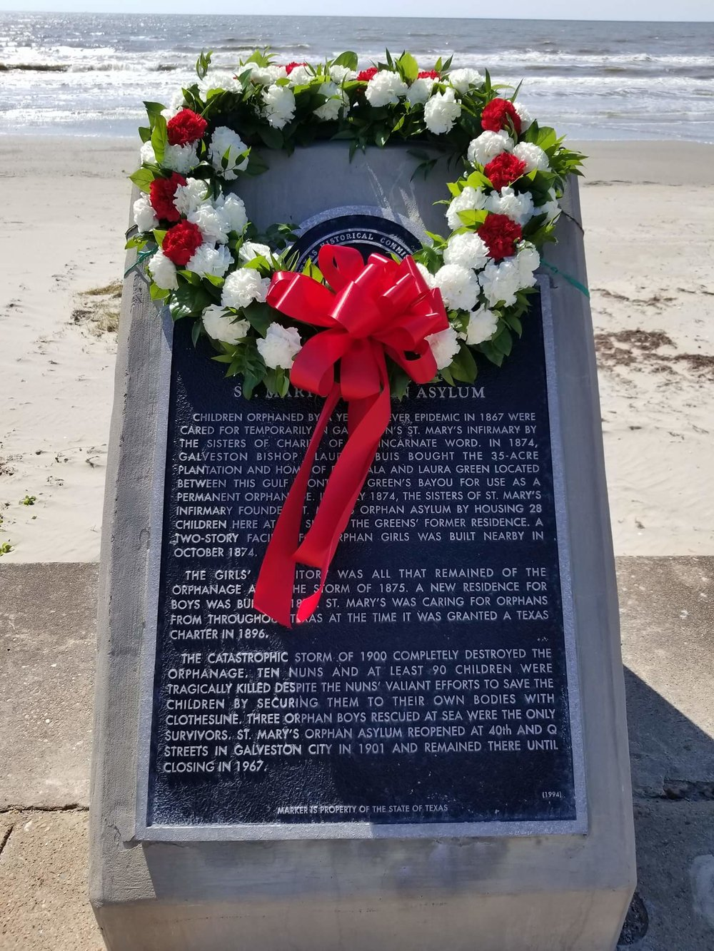 Photo courtesy of Melissa Hall.  This historical marker remembers the nuns and orphans lost in the Great Storm of 1900.  On the anniversary of the storm every year a wreath is placed on the marker to remember the lives lost.