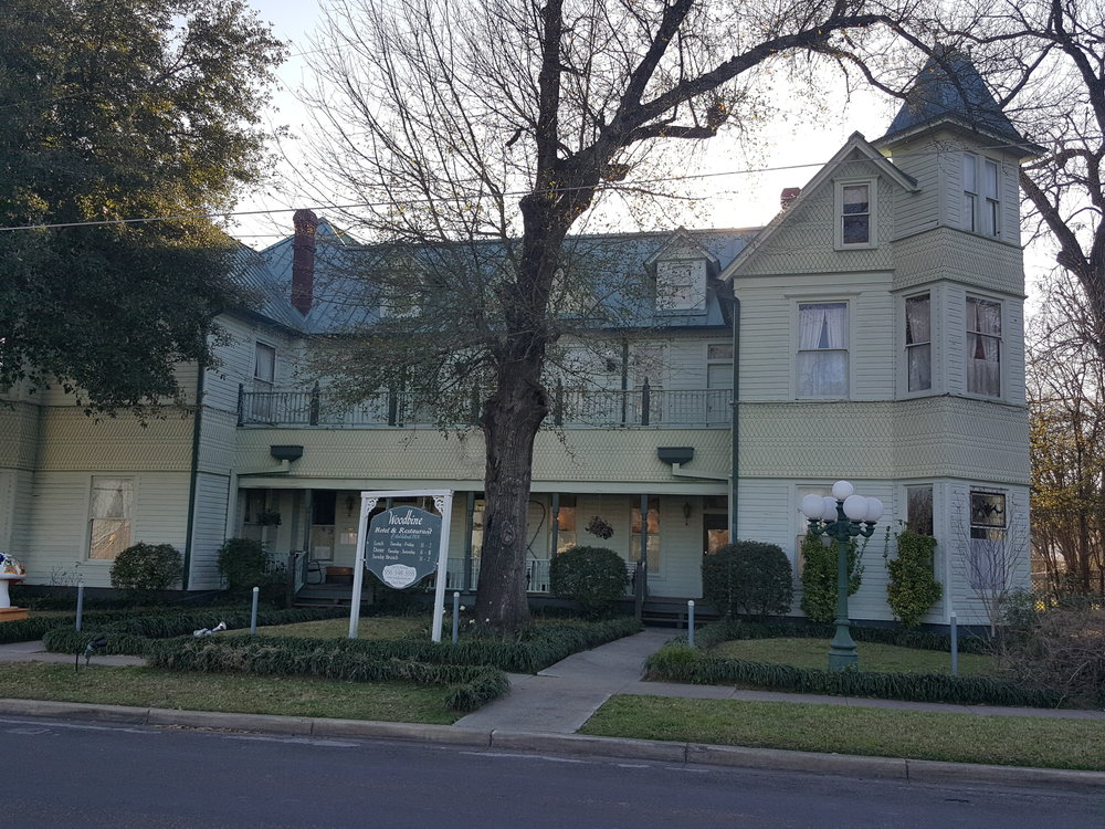 View of the Woodbine Hotel - Madisonville, TX.  Beautifully restored it has that spooky feel!