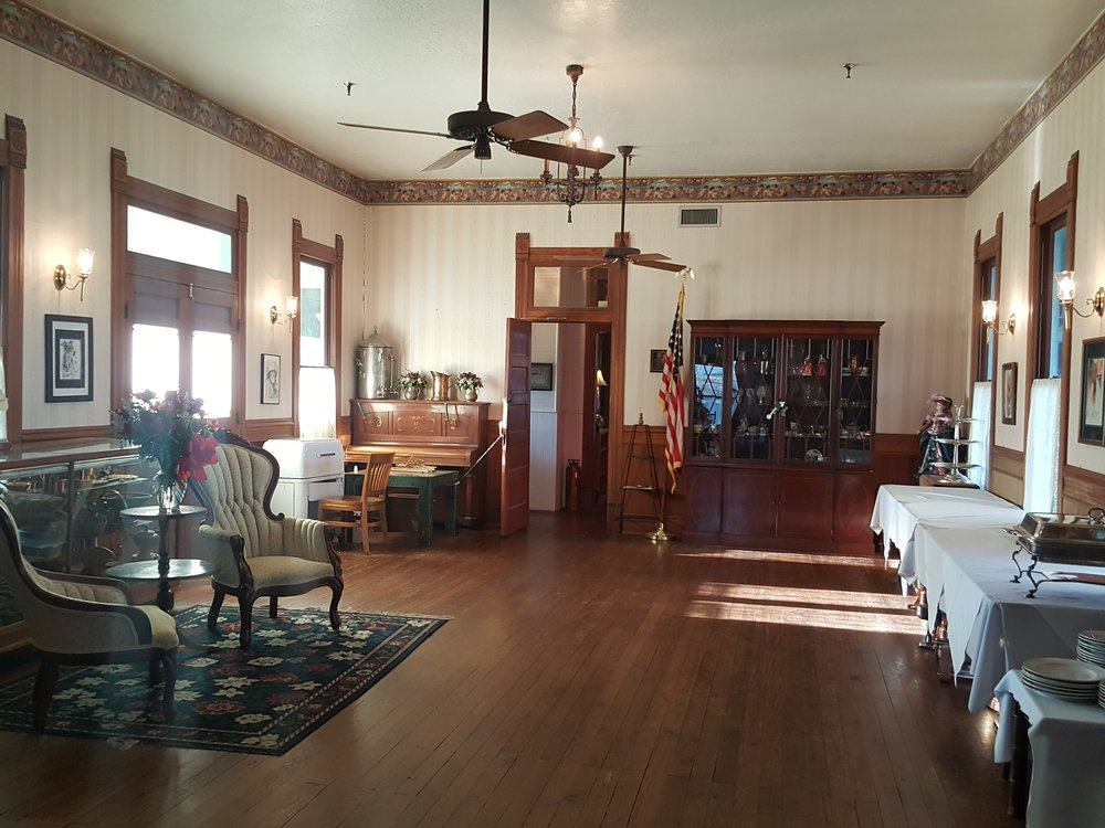 Main parlor of the Woodbine, authentically restored.  We experienced footsteps following us here, when there was no one else in the hotel.