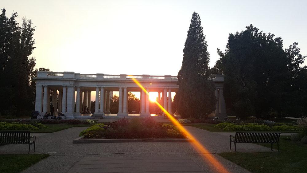 Cheesman Park in Denver, CO as the sun sets.