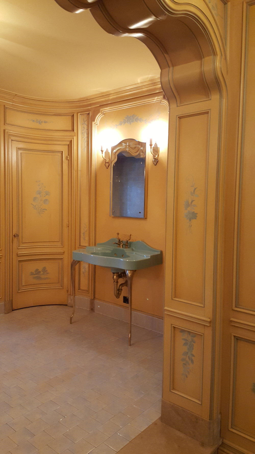 One of the haunted bathrooms at Highlands Ranch Mansion. The stenciling and detail is astounding. Photo: Michelle Tebow