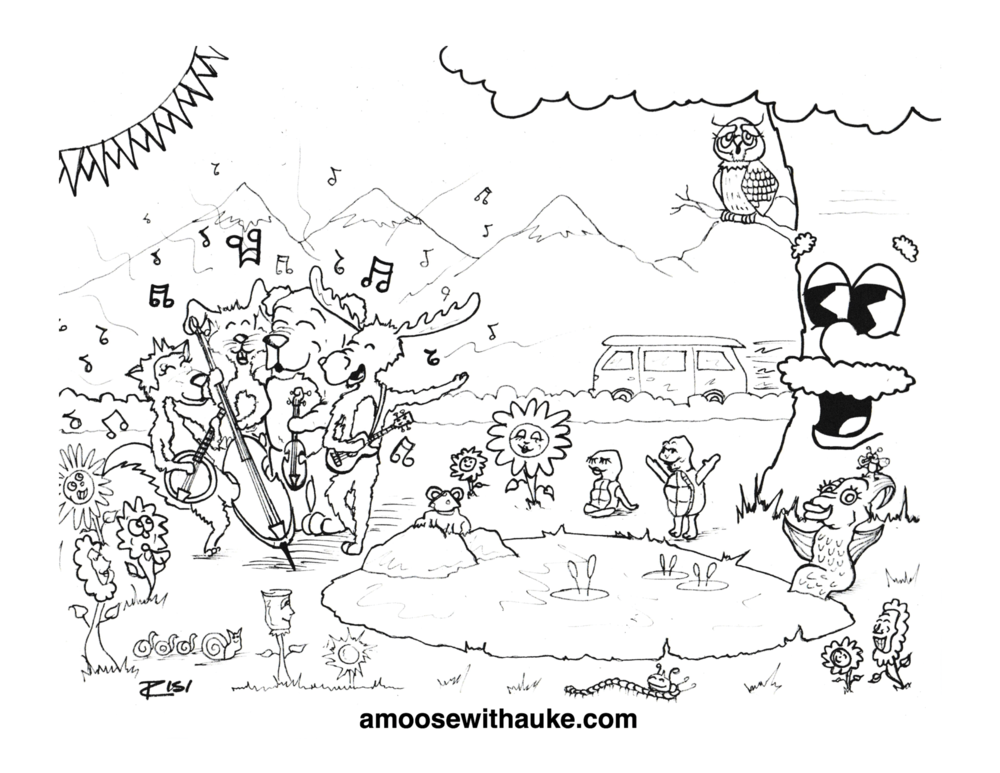 Download your copy of     A Moose with a Uke     Coloring Page