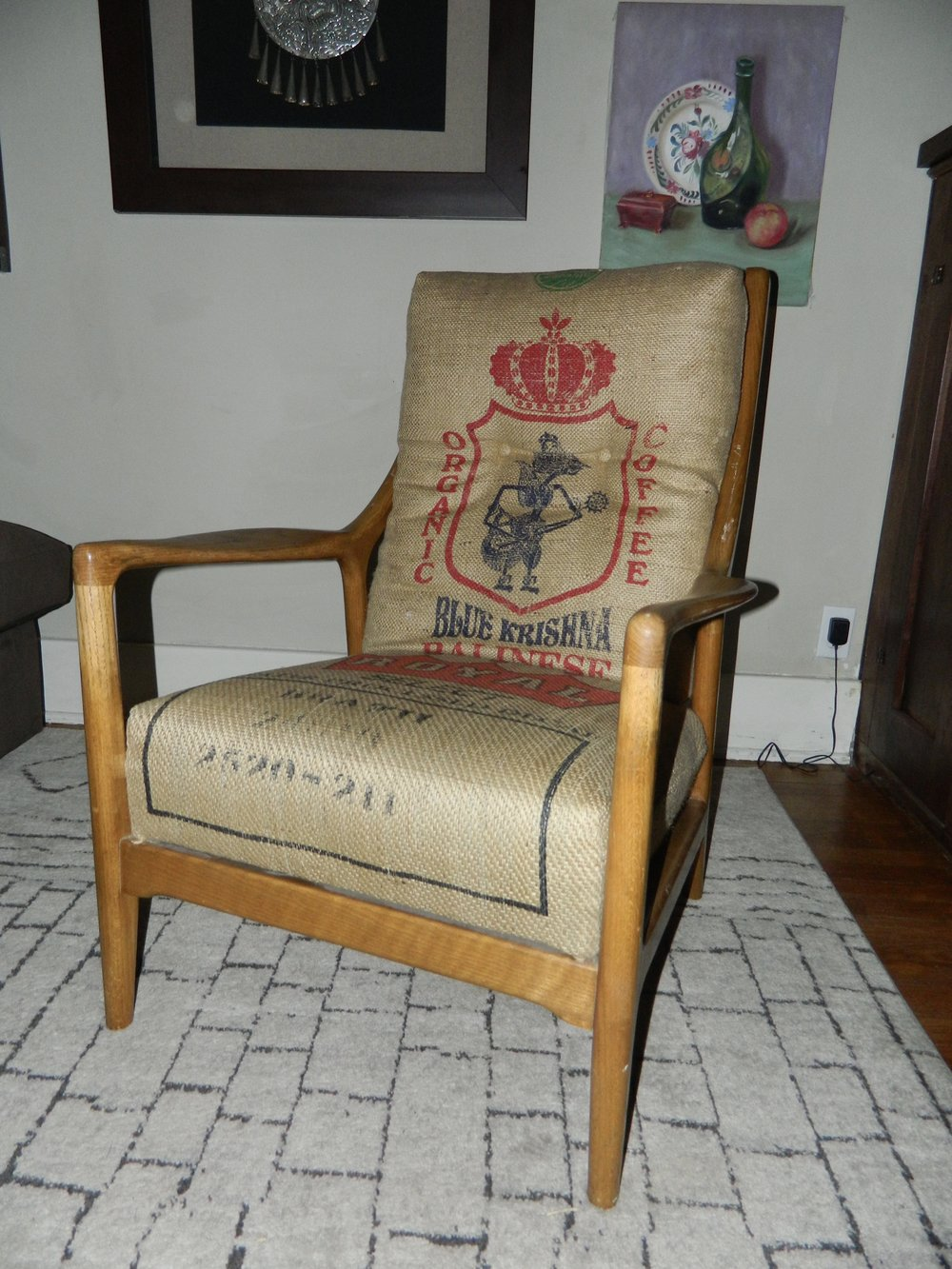 Coffee sacks are another favorite go-to material. This mid century chair gets a fun makeover with the use of different burlap coffee sacks.