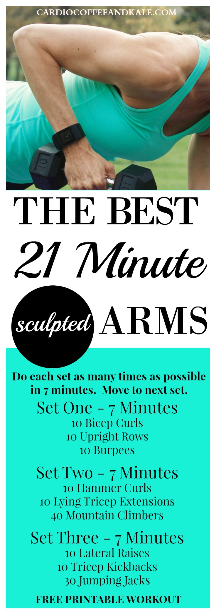 The Best 21 Minute Sculpted Arms Workout! This fast and effective workout will add shape to your arms and keep your heart pumping!  www.cardiocoffeeandkale.com for more great workouts!