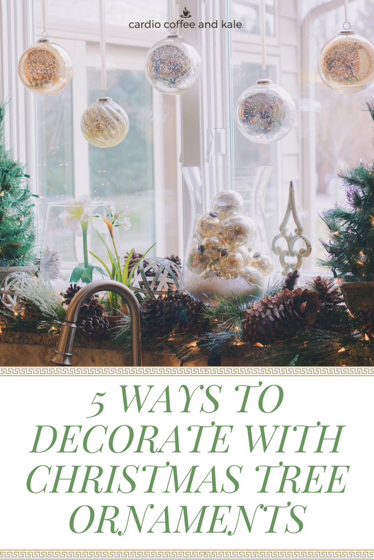 Christmas tree ornaments are not just for trees!  Try out these creative ideas for adding a pop of color and sparkle to your holiday decorating.