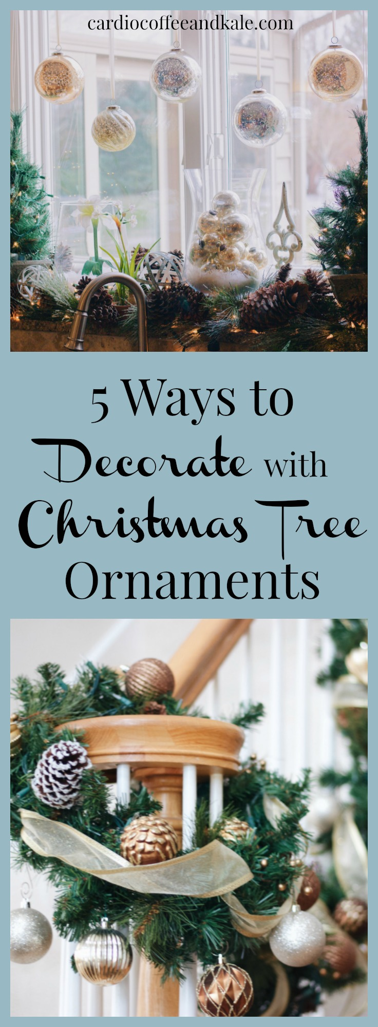 Get Inspired!  Christmas tree ornaments are not just for trees!  Try out these creative ideas for adding a pop of color and sparkle to your holiday decorating.  .jpg