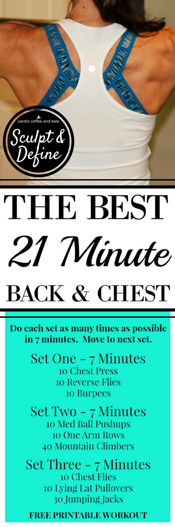 Short on time?  Looking to get some definition in your back?  This workout is 21 minutes and is a perfect strength and fat burning workout! www.cardiocoffeeandkale.com