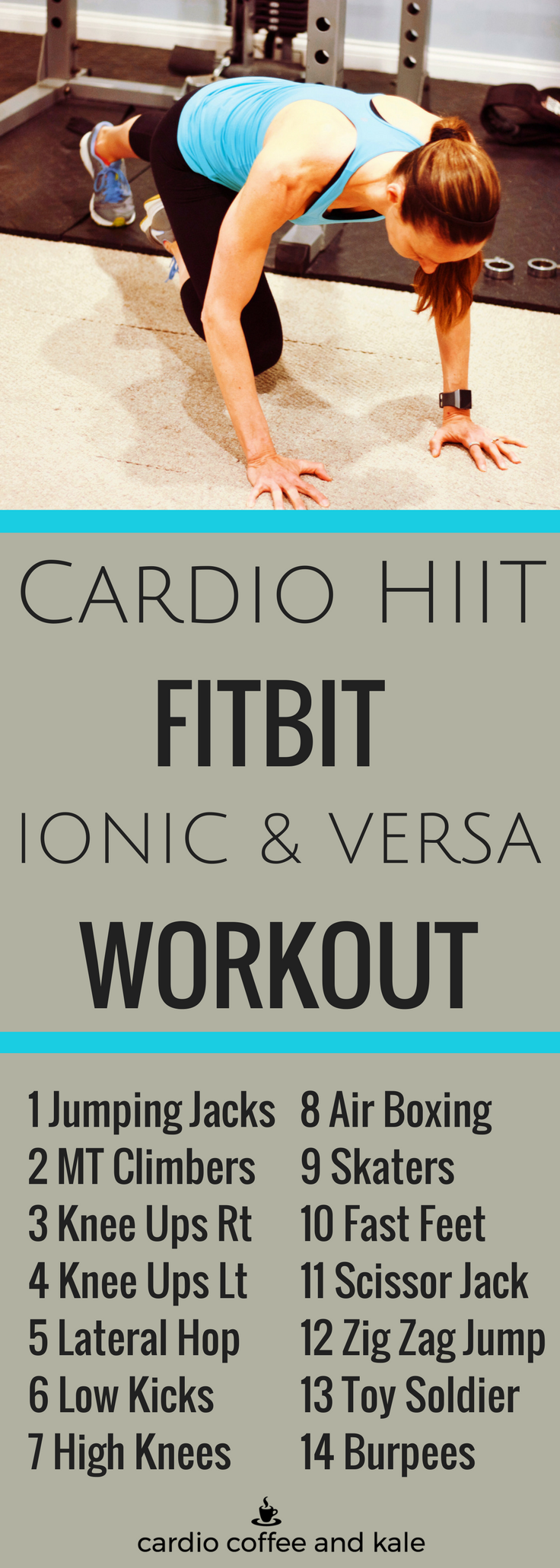 This workout is the ultimate cardio HIIT workout for the Fitbit Ionic and Versa Interval Timer.  Don't have the Ionic or Versa?  Just use the timer on your phone!  cardiocoffeeandkale.com