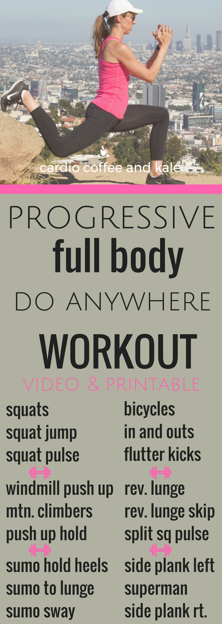 do anywhere progressive full body workout. www.cardiocoffeeandkale.com