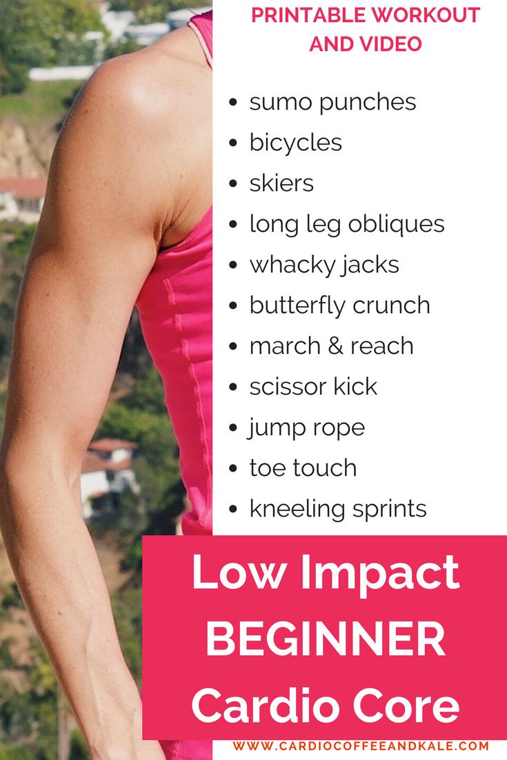 low impact beginner cardio core. www.cardiocoffeeandkale