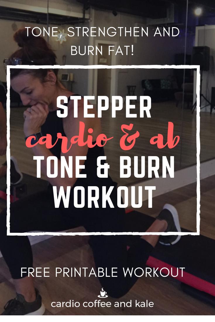 stepper cardio ab workout. www.cardiocoffeeandkale.com