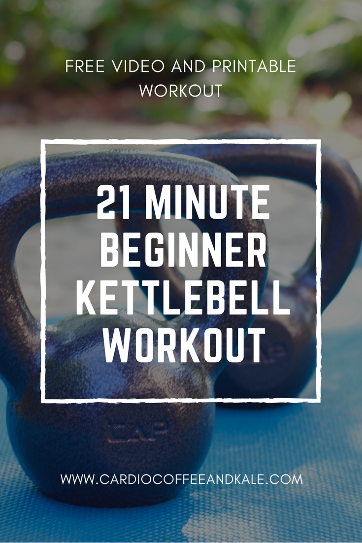 This 21 minute Kettlebell workout features exercises for your full body and is perfect for anyone...beginner or advanced. Grab your kettlebell and give it a try! Free video and printable workout!  www.cardiocoffeeandkale.com #kettlebell #beginner #beginnerworkout #workout