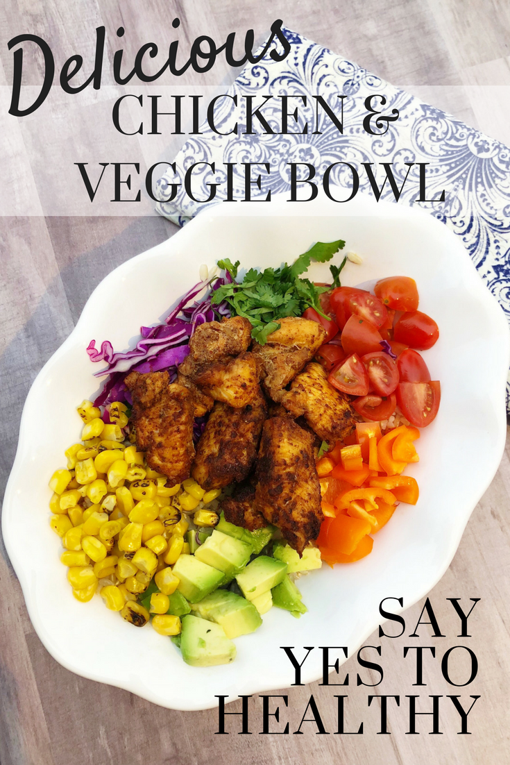 Healthy and delicious doesn't get any easier!  Try this yummy Chicken and Veggie Bowl and find your new family favorite meal!  www.cardiocoffeeandkale.com #healthy #Bowl #healthymeal #weeknightmeal #grilling
