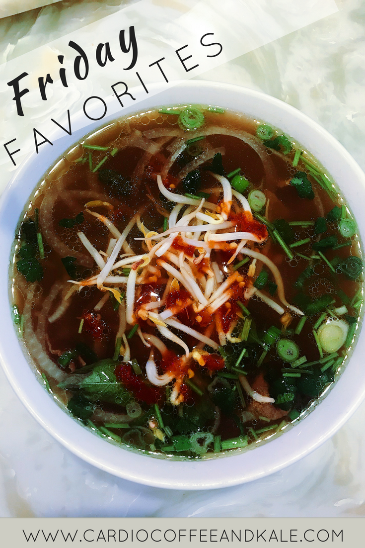 Here are this week's Friday Favorites: Pho from Little Saigon in Chicago, a rose tea, a prayer journal, paint and my newly posted chicken recipe! www.cardiocoffeeandkale.com #journal #Pho #soup