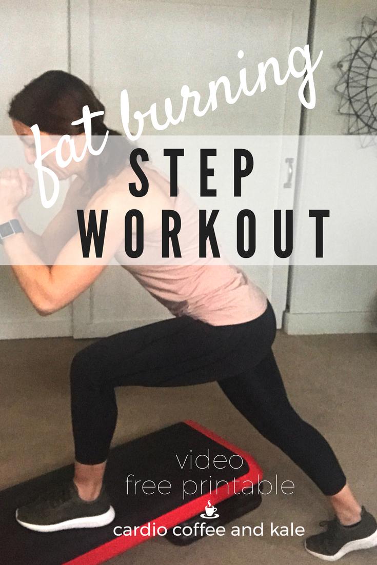 fat burning step cardio workout. www.cardiocoffeeandkale.com