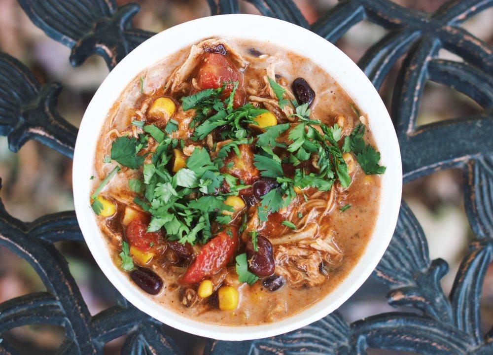 Slow Cooker Chicken Enchilada Soup www.cardiocoffeeandkale.com