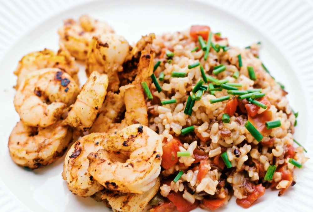 Spicy Grilled Shrimp and Simple Spanish Rice cardiocoffeeandkale.com