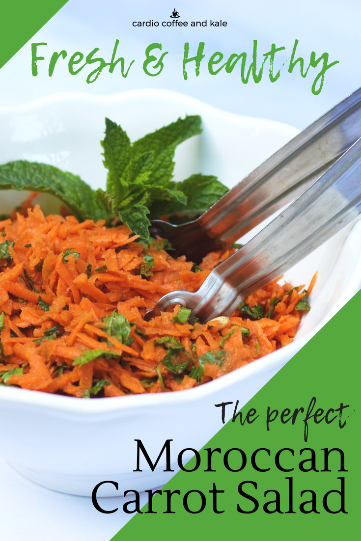 The perfect Moroccan Carrot Salad - fresh flavor, packed with antioxidants and healthy too!  cardiocoffeeandkale.com  #salad #recipe #yummy #mediterranean #saladrecipe #cookout #picnic #picnicrecipes #healthyfood #healthy #weightloss #diet #lowcalorie #lowfat #glutenfree #vegan