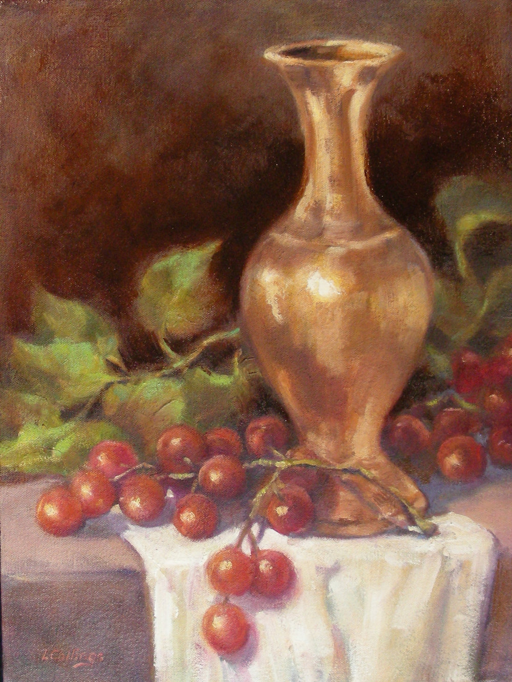 "12 - Copper Vase - 16 x 12"", oil on canvas, $330-"