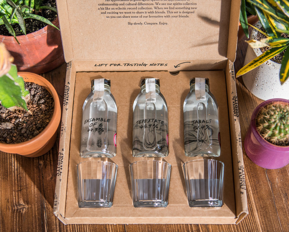 3 x 150ml bottles, each with a mezcal glass