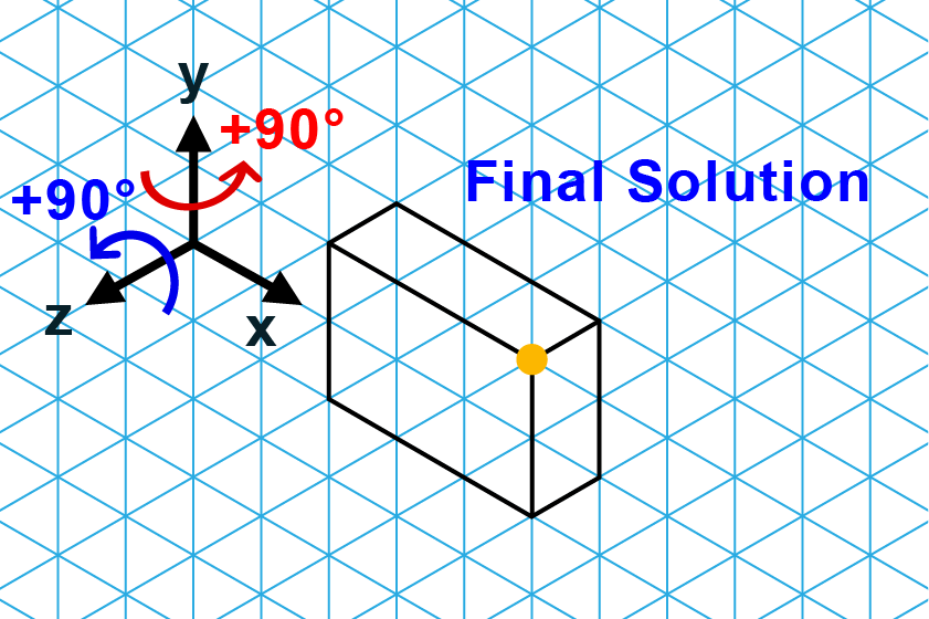 Note, the new position of the isometric drawing with relation to the yellow dot, which is used to score your solution. Only the final drawing should be included when submitting your drawing; do not include any intermediate rotations.