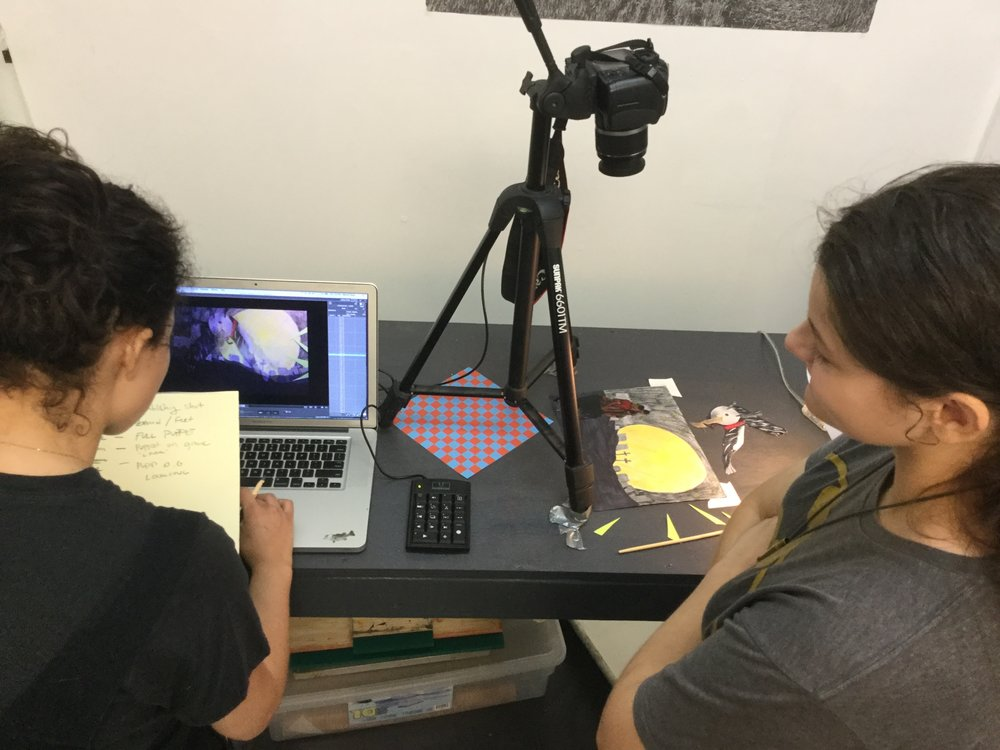 Adrielle Farr works with an animation student in August, 2017. Students each made their own stop motion shorts, using paper puppets and collaged backgrounds.