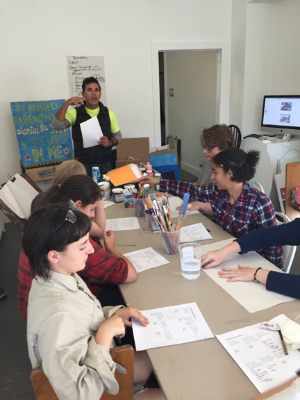 High School students explored art and activism, in November, in a workshop taught by Jacinta Bunnell and Rafael Perez.