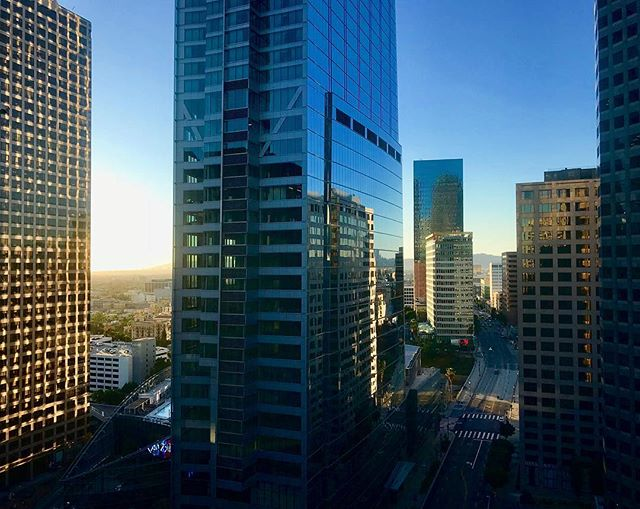 I don't get downtown enough. So much going on, so many incredible views. . . . . . #losangeles #downtown #downtownla #photography #sunset #shotoniphone #cityscape #city