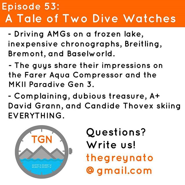 Surprise - we're talking watches! After a quick look forward at upcoming trips and what it's like to drive AMGs on a frozen lake, the guys dig into a handful of new watches. Jason has a bevy of budget chronographs, James finally got a Doxa, and they both share their thoughts on the new @fareruniversal Aqua Compressor and the @mkiiwatch Paradive Gen 3. Stick around for Final Notes to go deeper on why complaining is useless, an incredible long read from David Grann, a shipwreck bounty that is too good to be true, and a jaw-dropping new video that pushes the boundaries of where you thought it was possible to ski (don't skip this one). Just press play, thanks for listening! #thegreynato #tgn #podcast #travel #adventure #diving #gear #travel #watches