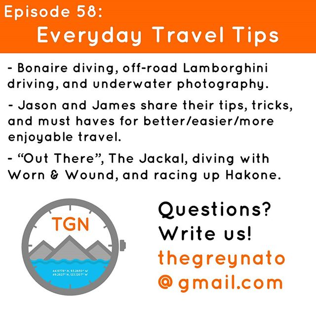 With tons of travel on the horizon the guys sat down and talked about how they make the most of the flights, the new cites, and the strange hotel rooms. From what they've got to have on the plane, to researching a destination, to a few simple tricks to make the whole process a bit more simple. Travel aside, we've got a Lamborghini SUV, dive watches in Bonaire, underwater photography, a new old T-Graph, the Motorhead Hillclimb, The Jackal, and much more. . . . #tgn #thegreynato #watches #adventure #travel #diving #gear #podcast