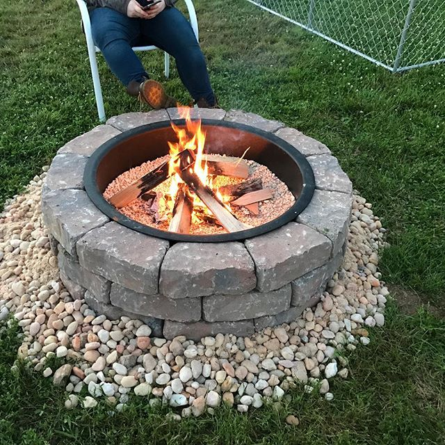 First burn of the season in the newly built fire pit.