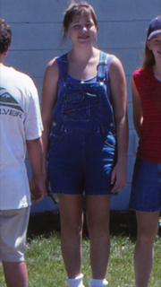 There was a tweetie bird decal on the back of these overalls.