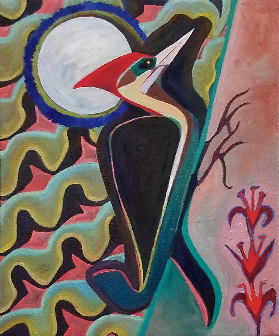 """Woodpecker, 8"""" x 10"""", oil, 2018"""
